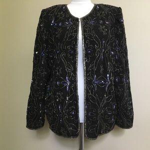 VINTAGE Laurence Kazar Blue Silver beaded jacket L